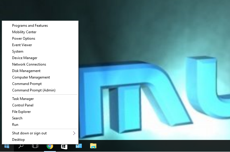 Right Click on the Start Menu Icon