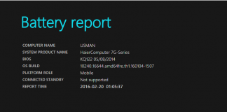 Generate Battery Report in Windows 10