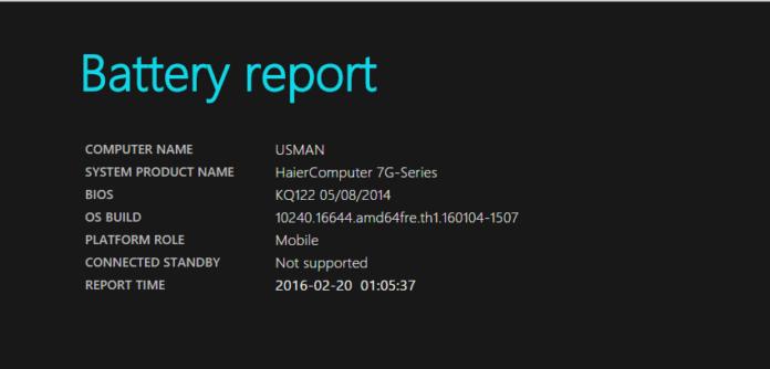 Generate Battery Report in Windows 10