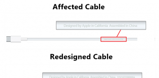 Difference between USB-C Charge Cable (Affected and Redesigned)