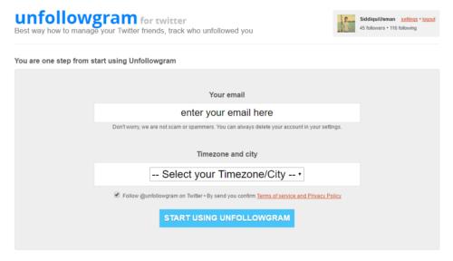 Unfollowgram Screen