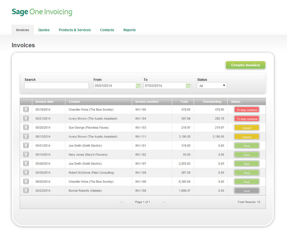 Demo of Sage One Dashboard